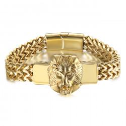 BR0289 BOBIJOO Jewelry León Pulsera Hombre Retro Acero y Oro