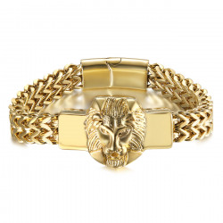 BR0289 BOBIJOO Jewelry Lion Bracelet Man Retro Steel and Gold