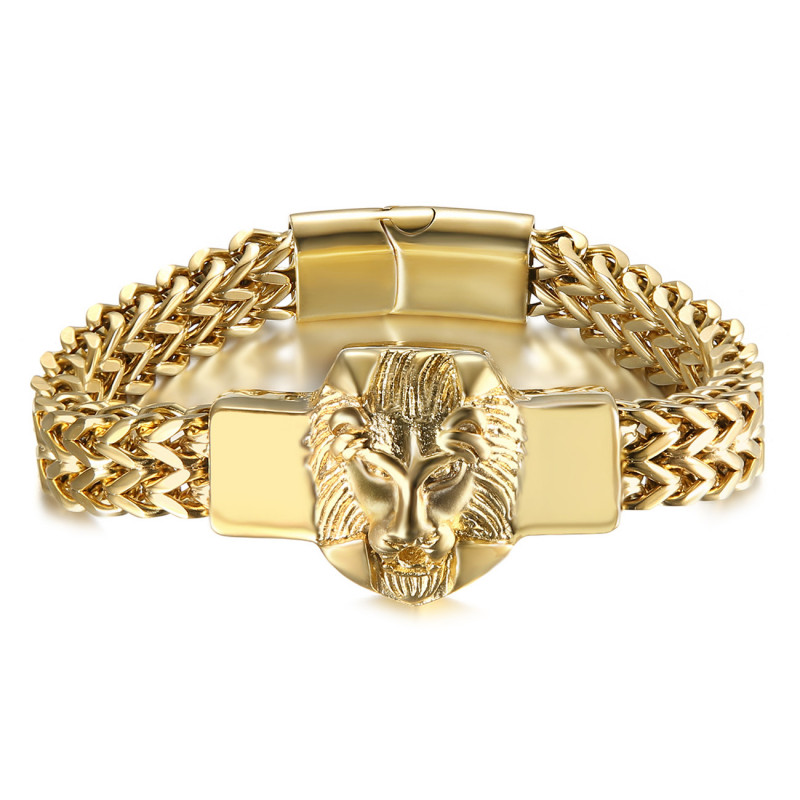 Bracelet lion Homme Rétro Acier et Or bobijoo
