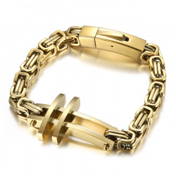 BR0290 BOBIJOO Jewelry Herren Kreuzarmband The byzantinischer Stahl gold