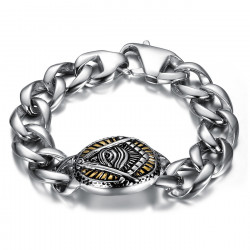 BR0293 BOBIJOO Jewelry Bracelet freemason seeing eye steel 22cm