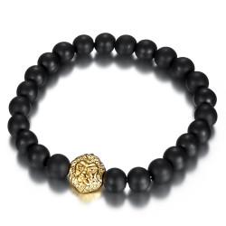 Bracelet boule 8mm Onyx noir Lion acier et or bobijoo