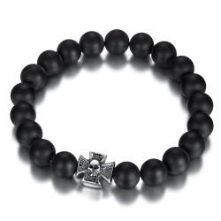 Bracelet boule 10mm Onyx noir Croix de Malte acier