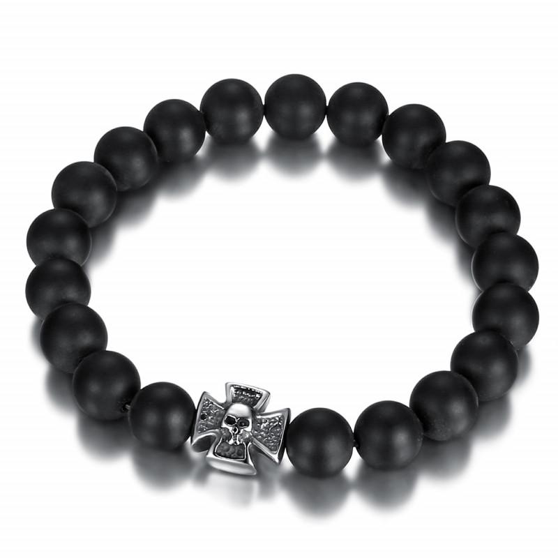 BR0037 BOBIJOO Jewelry Armband Schwarzer Onyx Matt Kreuz Pattée Templer-Schädel