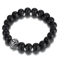 BR0038 BOBIJOO Jewelry Pulsera de Piedra de Ónice Negro Mate de 10 mm de la Cabeza de León de Acero
