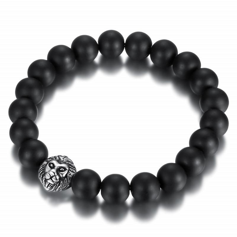 BR0038 BOBIJOO Jewelry Armband Schwarzer Onyx Matt 10mm löwenkopf Edelstahl