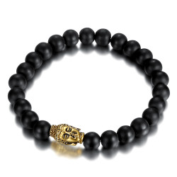 Armband, Stein-tigerauge Buddha Kopf Versilbert