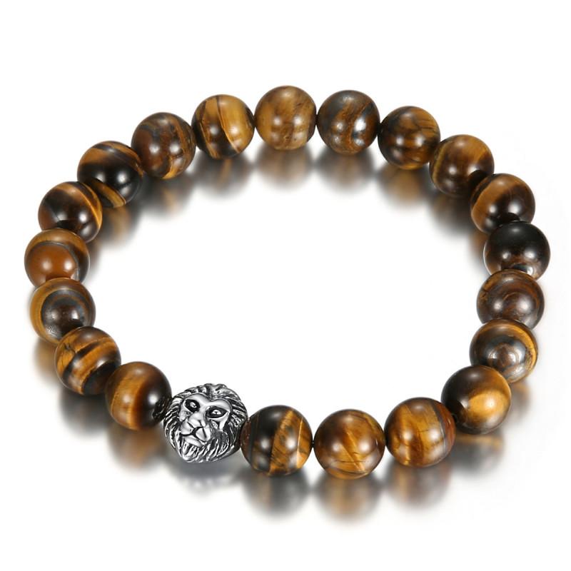 Bracelet boule 10mm Oeil de tigre Lion acier bobijoo