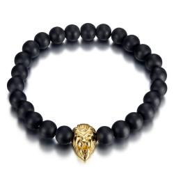 Bracelet boule 8mm Onyx noir Tête de Lion acier et or bobijoo