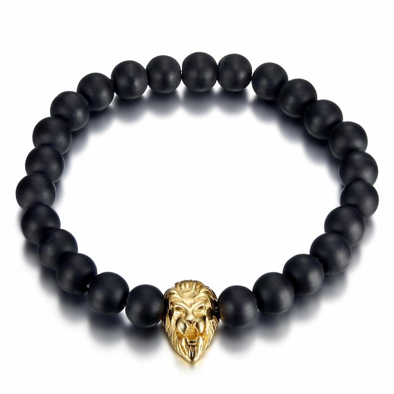 BR0049 BOBIJOO Jewelry Bracciale in Pietra Lavica teschio Color Argento