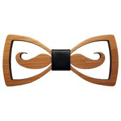 NP0065 Gaston et Ferdinand Openwork Mustache Wood Bow Tie