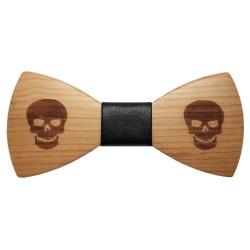 NP0034 BOBIJOO Jewelry Bow Tie Wood Skull Biker