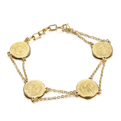 BR0273G BOBIJOO Jewelry Pulsera Saint-Benoît Mujer Protección Acero Oro