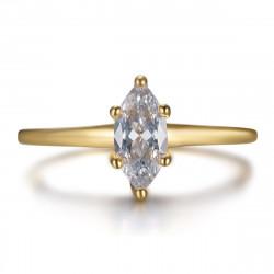 Anello Marquise, gioiello discreto in acciaio e oro bobijoo