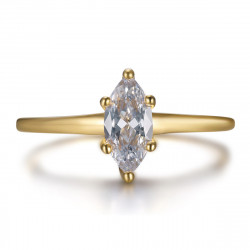 BAF0055 BOBIJOO Jewelry Marquise-Ring, dezentes Juwel aus Edelstahl und Gold