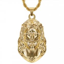 Ciondolo Cristo, collana gigante da uomo, bobijoo in acciaio e oro