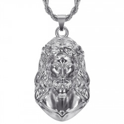 PE0332S BOBIJOO Jewelry Christ pendant, Men's giant necklace, Silver steel