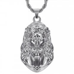 Ciondolo Cristo, collana gigante da uomo, acciaio argento bobijoo silver