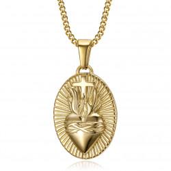 Coeur du christ, pendentif collier acier et or bobijoo