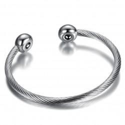 BR0231 BOBIJOO Jewelry Braccialetto Magnetico Sfere Cavo Donna Acciaio Inox