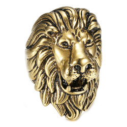 BA0396 BOBIJOO Jewelry Anello vintage in oro e leone nero, gioiello enorme