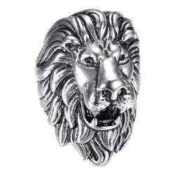 BA0396S BOBIJOO Jewelry Anillo vintage de plata y león negro, joya enorme