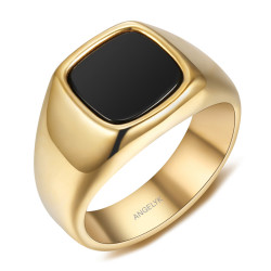 BA0397 BOBIJOO Jewelry Anillo cabujón Ónix negro Acero inoxidable Oro