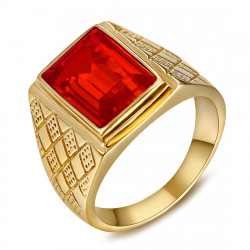 Signet Ring Man Stone Red Rectangle Steel Gold IM#20479