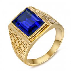 Siegelring Ring Mann Pierre Blau Lila Stahl Gold IM#20486