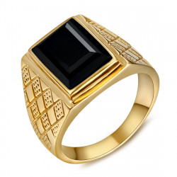 Signet Ring Man With Black Stone Cabochon Steel Gold IM#20493