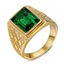 BA0398 BOBIJOO Jewelry Green Stone Ring Gold and Emerald Look