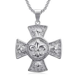 PE0113S BOBIJOO Jewelry Großer Medaillon-Anhänger Kreuz Pattee Templer-Lilie Silber