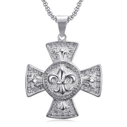 PE0113S BOBIJOO Jewelry Medallón Grande Colgante Cruz Pattee Templario Lily Plata