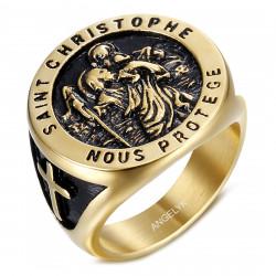 BA0399 BOBIJOO Jewelry Saint Christopher Ring Patron der Reisenden Gold und Schwarz