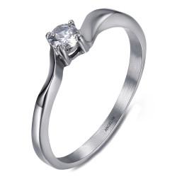 BAF0057 BOBIJOO Jewelry Anillo solitario 4 garras Compromiso Acero inoxidable