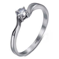 BAF0057 BOBIJOO Jewelry Solitaire ring 4 claws Engagement Stainless steel