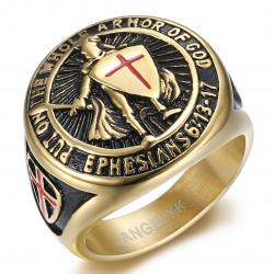 BA0400 BOBIJOO Jewelry Anillo Caballero Templario Armas de Dios Acero Oro