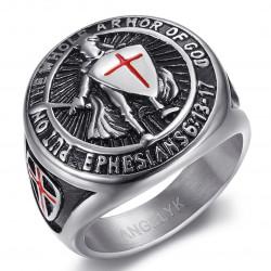 BA0400S BOBIJOO Jewelry Anello Cavaliere Templare Armi di Dio Acciaio Argento