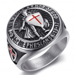 BA0400S BOBIJOO Jewelry Tempelritter Ring Waffen Gottes Stahl Silber
