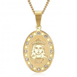 PEF0070 BOBIJOO Jewelry Medalla de oro de Santa Sara y diamantes de Saintes Maries de la Mer