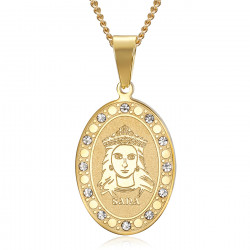 PEF0070 BOBIJOO Jewelry Saint Sara Gold Medal and Saintes Maries de la Mer Diamonds