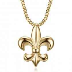 PE0335 BOBIJOO Jewelry Collar flor de lis, joya fina y discreta, acero y oro