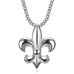 PE0335S BOBIJOO Jewelry Fleur-de-lis-Halskette, dezentes und feines Juwel, Silberstahl