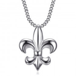 PE0335S BOBIJOO Jewelry Fleur-de-lis necklace, discreet and fine jewel, silver steel