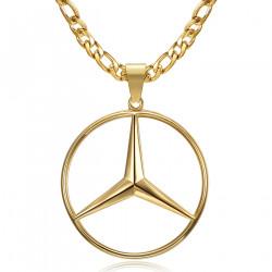 PE0336 BOBIJOO Jewelry Mercedes Sigle Chain Figaro Colgante Acero Oro