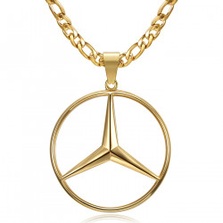 Pendentif Mercedes Sigle Chaîne Figaro Acier Or bobijoo