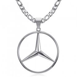 Ciondolo Mercedes Sigle Figaro Catena Acciaio Argento bobijoo