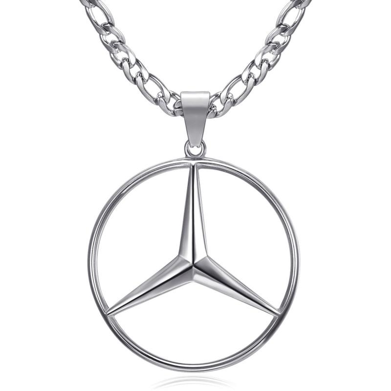 Pendentif Mercedes Sigle Chaîne Figaro Acier Argent bobijoo