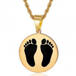 PE0337 BOBIJOO Jewelry Französische schwarze Füße Anhänger aus Algerien Stahl Gold
