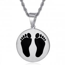 PE0337S BOBIJOO Jewelry Französische schwarze Füße Anhänger aus Algerien Stahl Silber